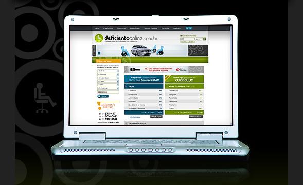 Descrição: imagem de um notebook aberto com a primeira página do site deficienteonline.com.br