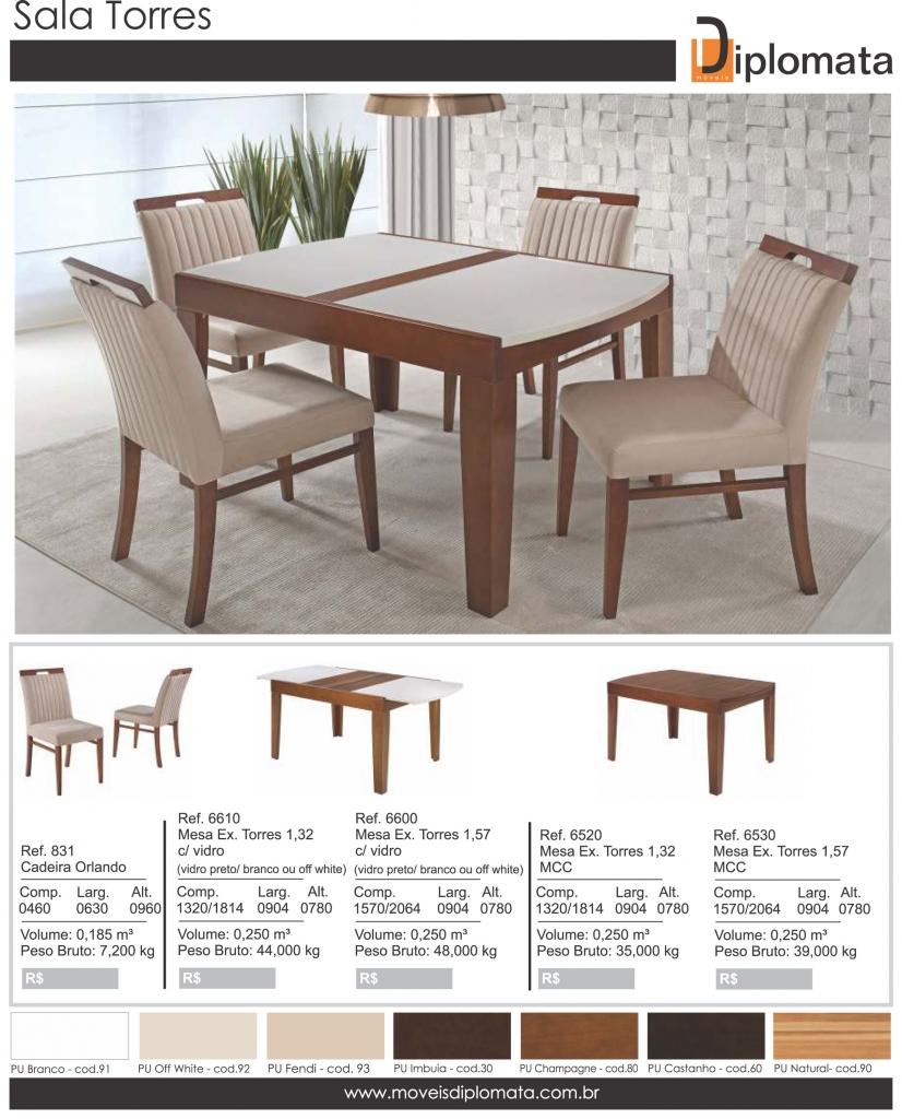 Mesa De Jantar Torres Com 4 Cadeiras Orlando Diplomata Moveis All Home