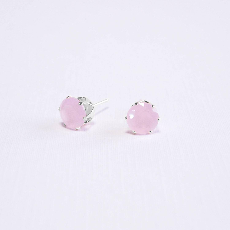 Brinco semijoia Ponto de luz cristal rosa banho ródio