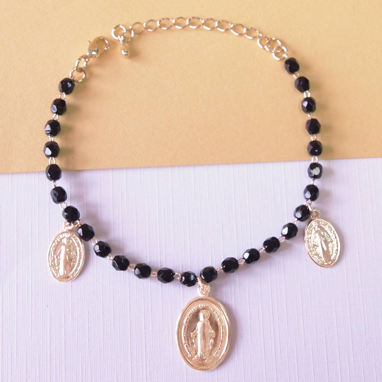 Pulseira semijoia Nossa Senhora das Graças Medalha Milagrosa