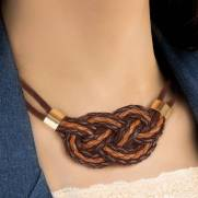 Colar de couro feminino semijoia maxicolar Trançado marrom