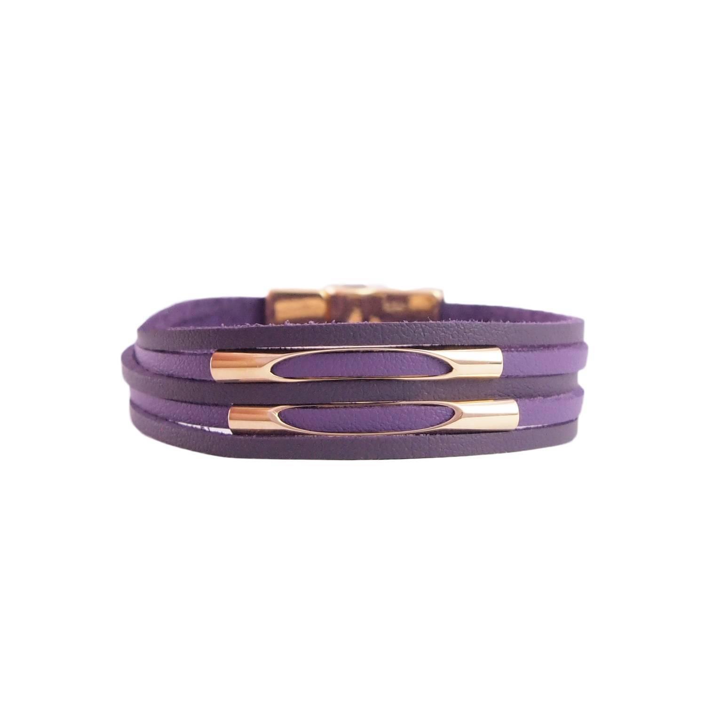 Pulseira de Couro feminina semijoia ultra violet canutilhos