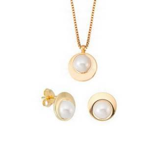 Conjunto semijoia Pérola design conjunto banhado a ouro