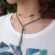 Colar semijoia Duplo nó cristal e fio verde banhado a ouro