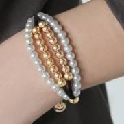 Bracelete semijoia Pérola e camurça black banhado a ouro