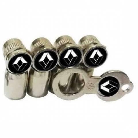 Kit Capa para Bicos Anti Furto Cromados + Chave de Aperto - Renault