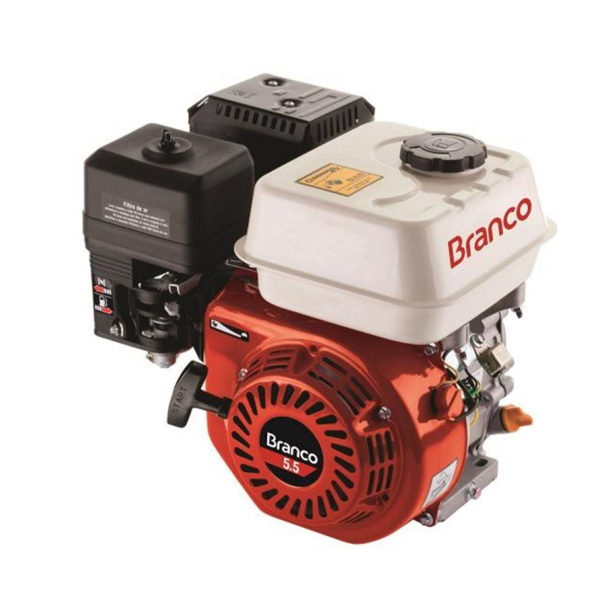 Motor Branco Gasolina B4T 5,5CV Eixo Horizontal P. Manual