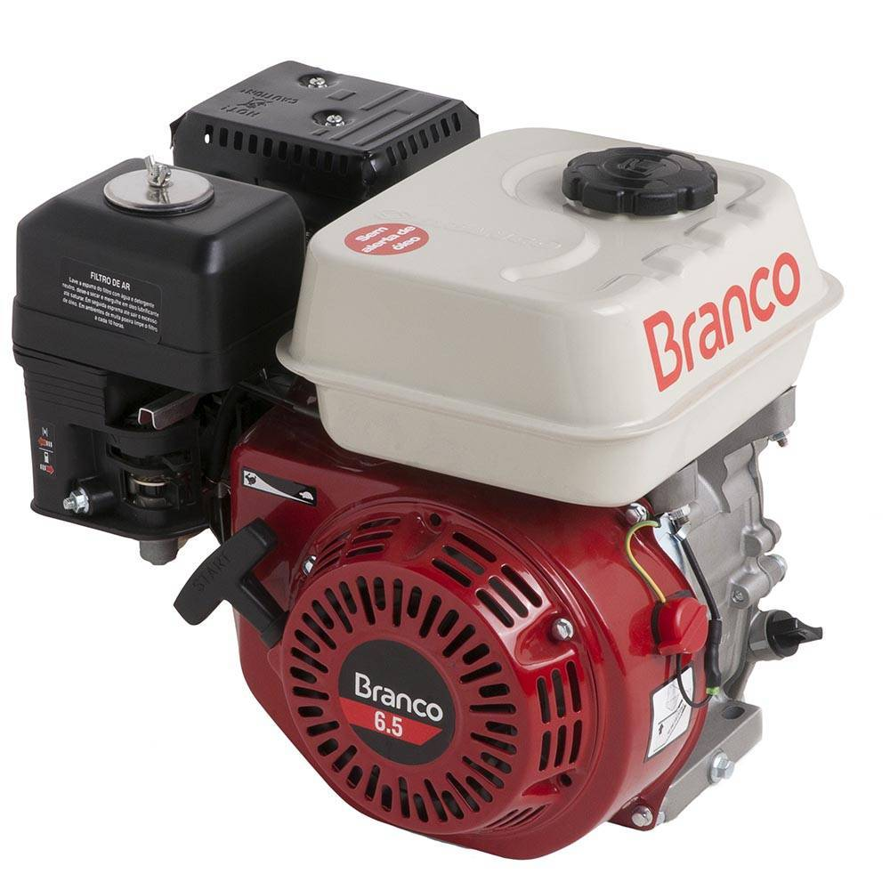 Motor Branco Gasolina B4T 6,5CV Eixo H. P. Manual S/ Alerta
