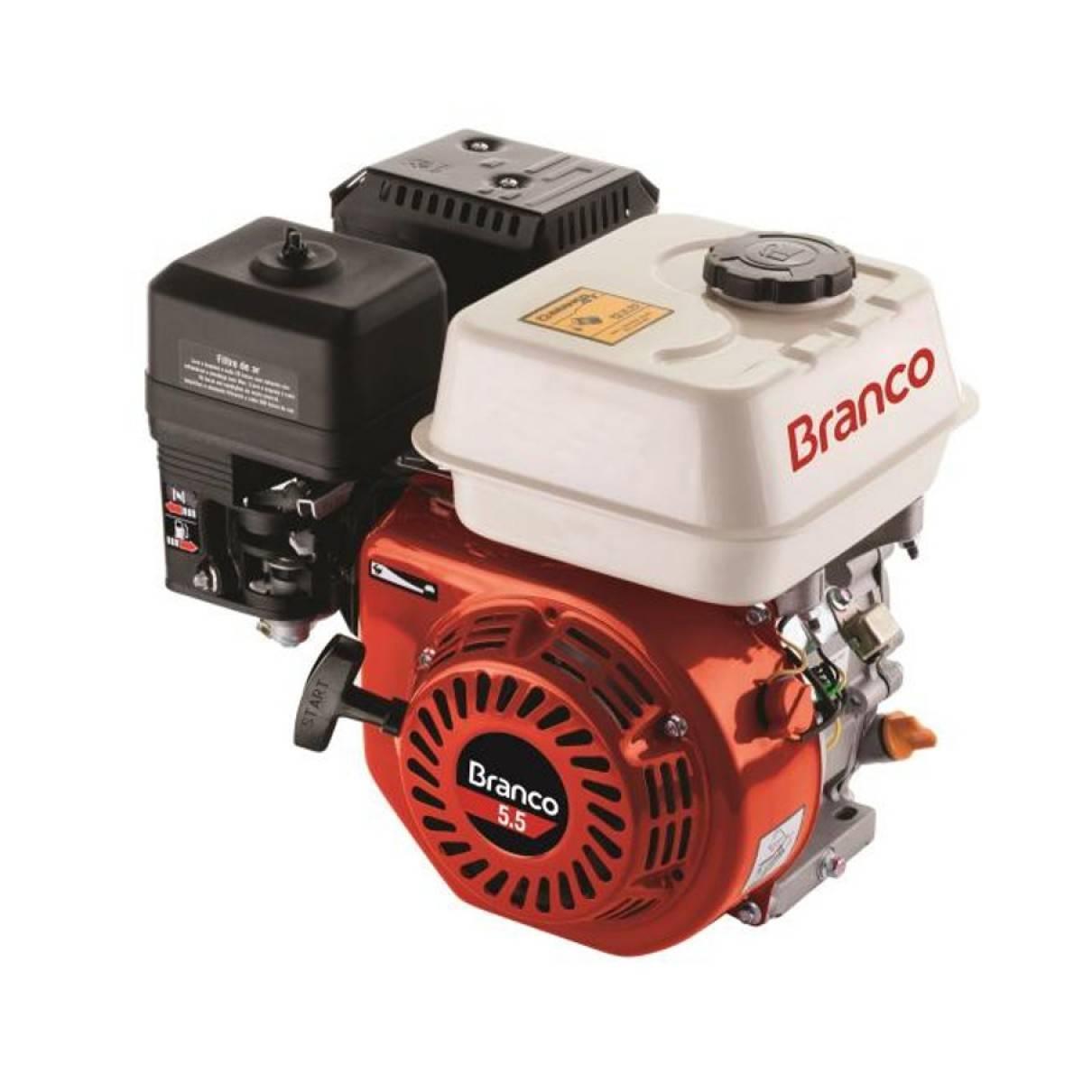 Motor Branco Gasolina B4T 8,5CV Eixo H. Monocili.