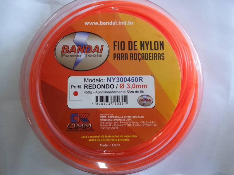Fio de Nylon 3,0mm REDONDO c/ aprox.56 metros 450gr p/ roçad