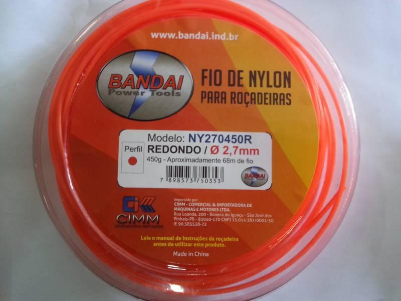Fio de Nylon 2,7mm REDONDO c/ aprox.68metros 450gr p/ roçade