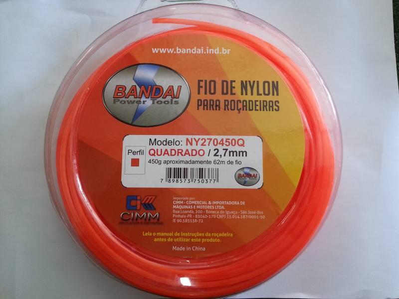 Fio de Nylon 2,7mm QUADRADO c/ aprox.62metros 450gr p/ roçad