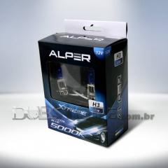 Kit Lâmpadas Alper Crystal Blue Xtreme 5000k - H3