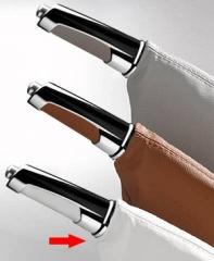 Manopla de Freio de Mão Isotta 481 W - Branco c/ Cromado, acompanha coifa em couro branco.
