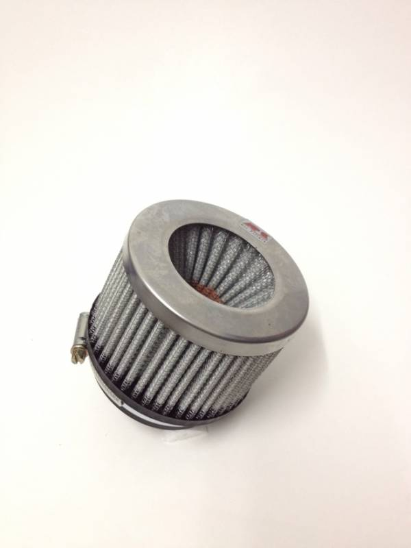 Filtro de ar cilíndrico duplo fluxo, pequeno | Prata e Preto | boca de 2,5