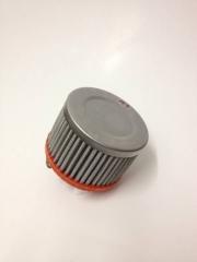 "Filtro de ar cilíndrico fluxo simples, pequeno | Prata e Laranja | boca de 2"" - Universal."