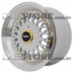 Jogo de Rodas Rodera RS Borda Cônica 17x8,5 4x100/5x100 | Branca / High Polished + golden details