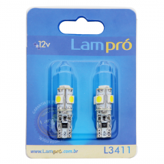 Kit Pingo LED Lampró Super Branco c/ Canceler | W5W