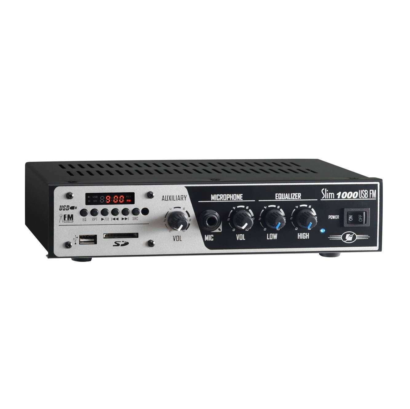 Amplificador Receiver até 12 cx Slim 1000 USB/SD CARD/AUX/FM - FRAHM