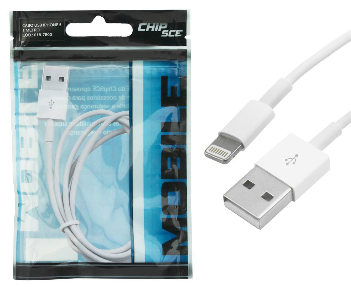 Cabo USB 2.0 1 metro p/ IPHONE 5/6 - CHIP SCE