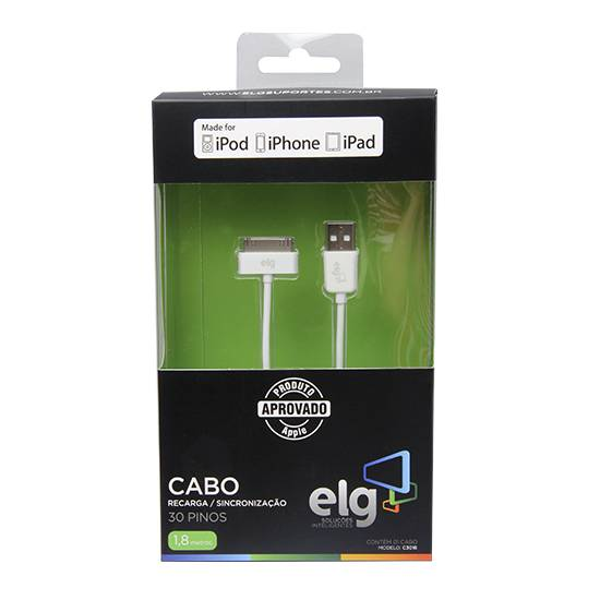Cabo USB 2.0 1 metro p/ IPHONE 4 / 4S C3010- ELG