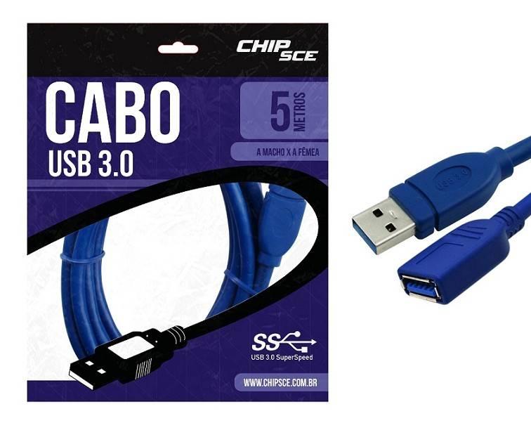Cabo Usb 3.0 A Macho P/ A Fêmea 05 Metros - Chipsce