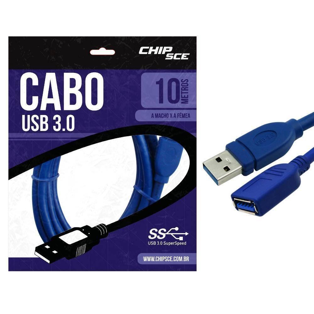 Cabo Usb 3.0 A Macho P/ A Fêmea 10 Metros - Chipsce
