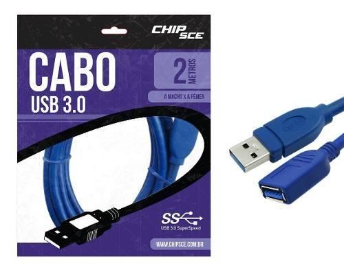 Cabo Usb 3.0 Macho/Fêmea 2 Metros - Chipsce