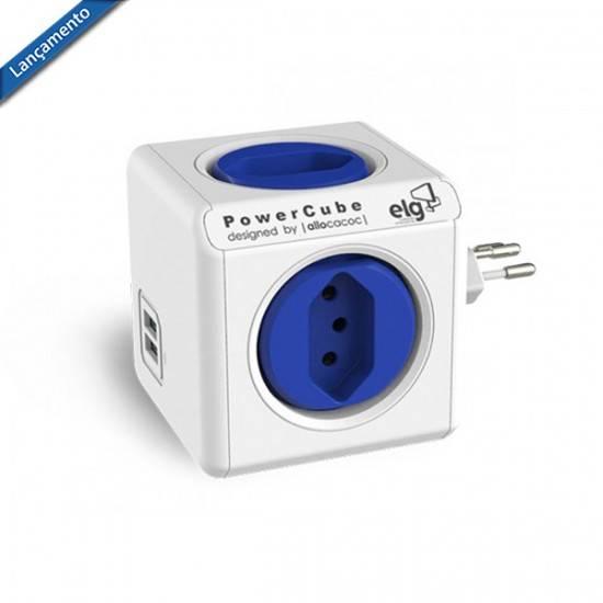 PowerCube Original PWC-R4U ELG Azul 4 Tomadas + 2 USB