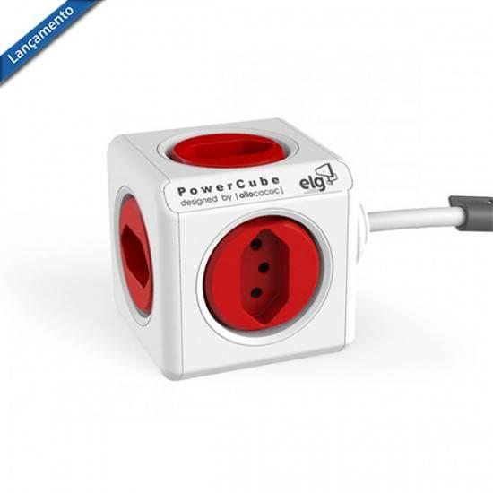 PowerCube Extended PWC-X5 ELG Vermelho 5 Tomadas com Cabo 1,5m