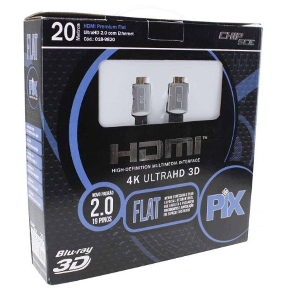 Cabo HDMI 20mt 2.0 Flat ''capa removível''UltraHD 4K - PIX