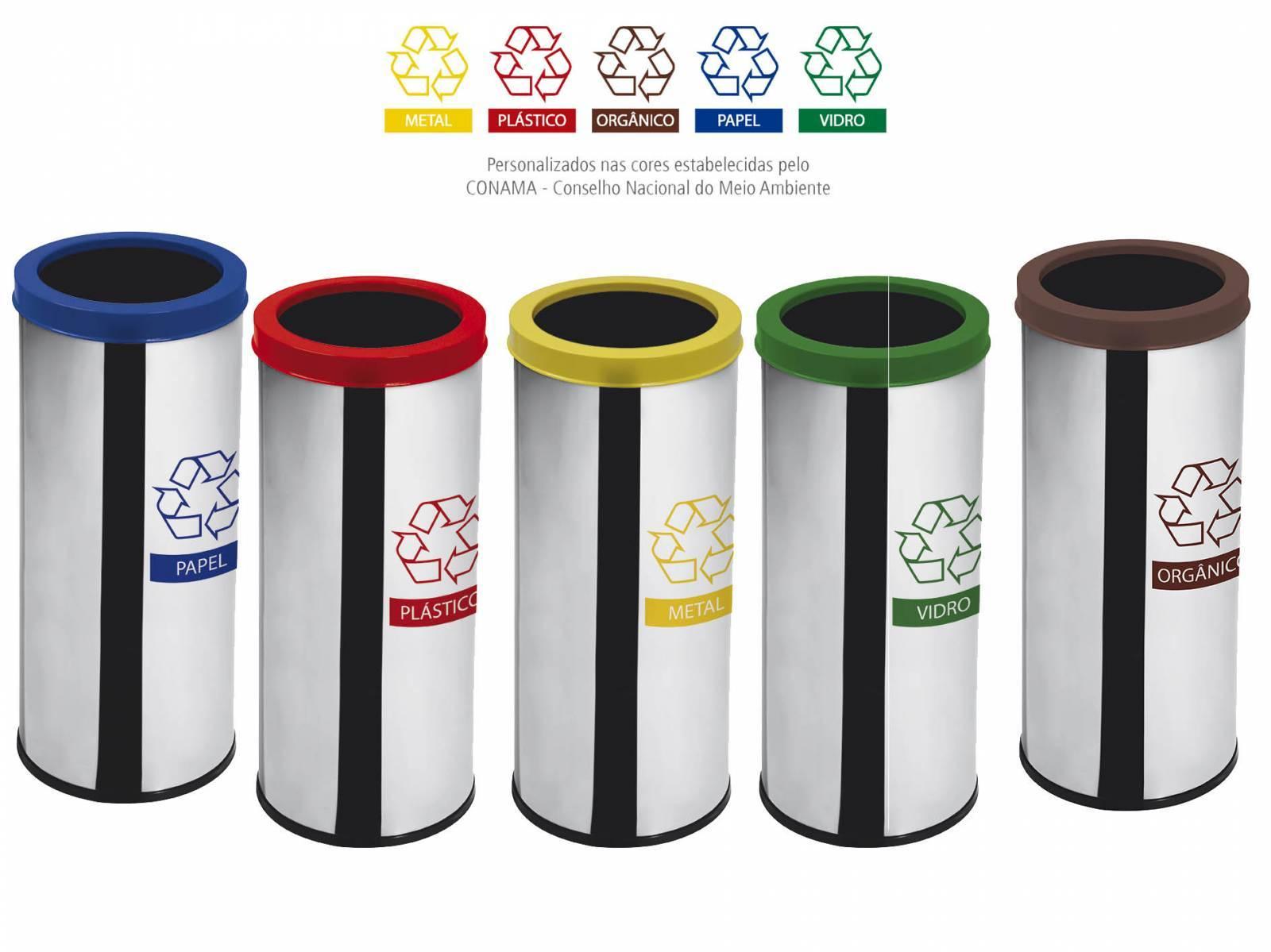 Lixeira Seletiva Inox 30 cm x 70 cm C/ Aro Colorido - 50 Litros (Unidade)