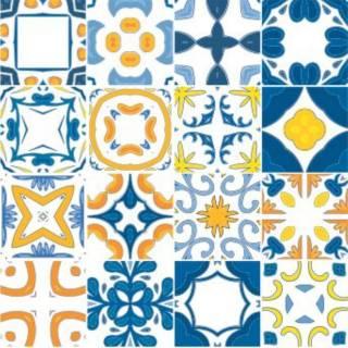 Adesivo para Azulejo - Azul e Amarelo | Redecorei