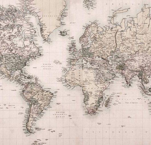 Papel de parede adesivo mapa vintage 2 m redecorei - Papel pintado mapa ...