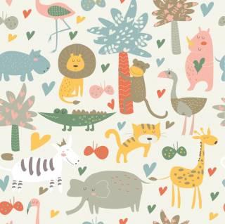 Papel de Parede Adesivo Floresta de Animais /Rolo | Redecorei