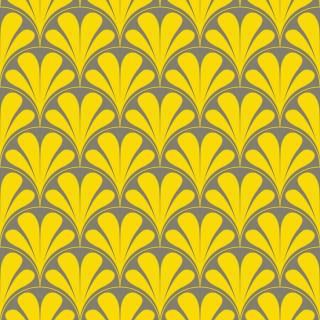 Papel de Parede Adesivo Retrô Amarelo e Cinza | Redecorei