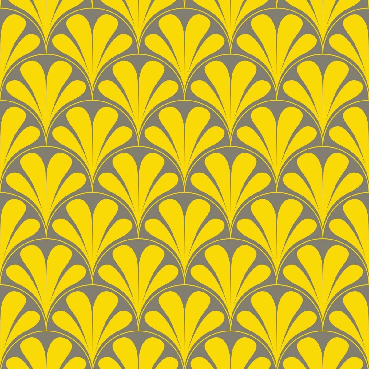 Papel de Parede Adesivo Retrô Amarelo e Cinza
