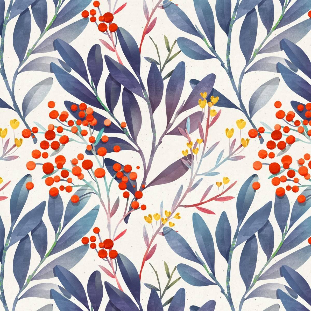 Papel de Parede Adesivo Folhas e Flores/Rolo