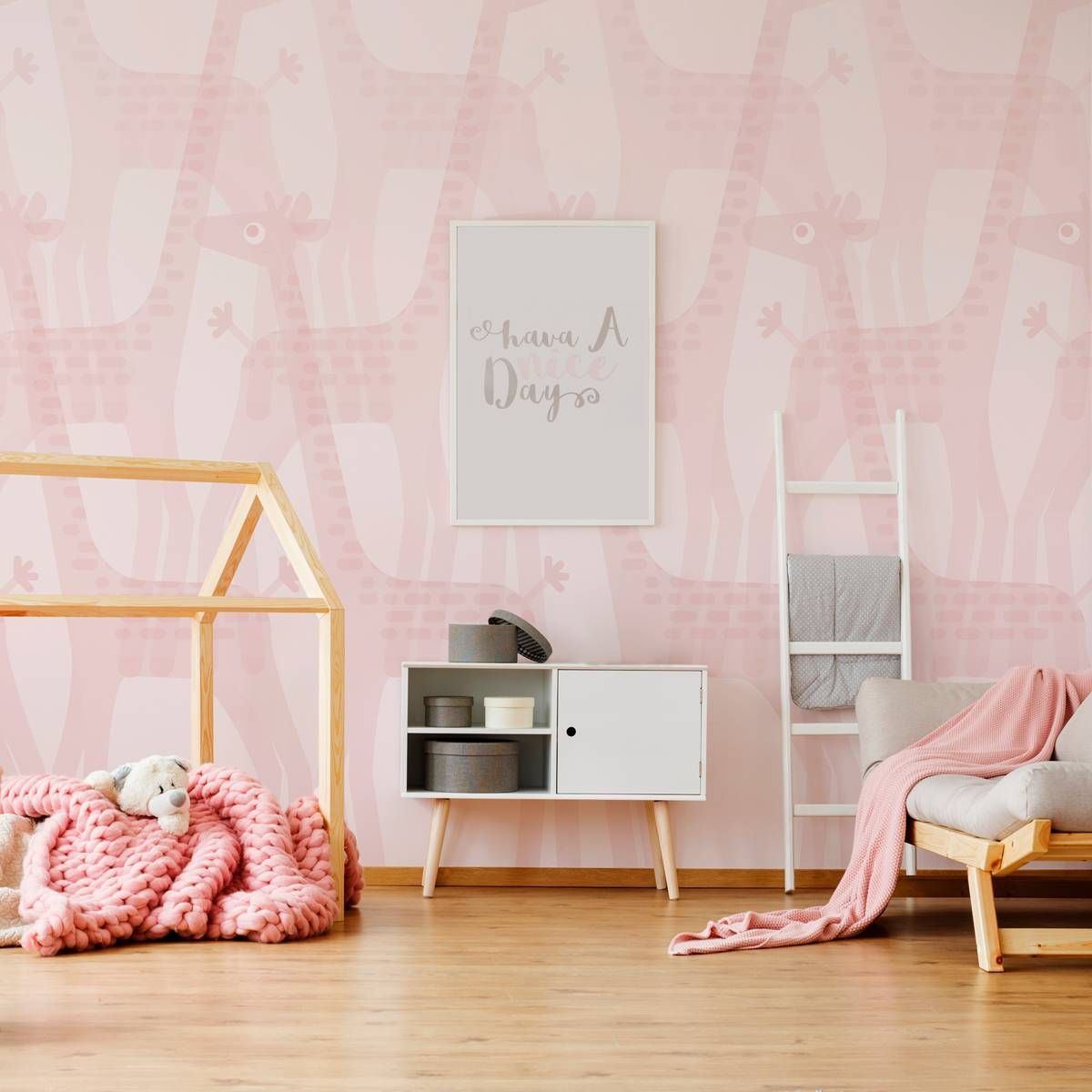 Painel Fotográfico Infantil Manada de Girafas Rosa/ m²