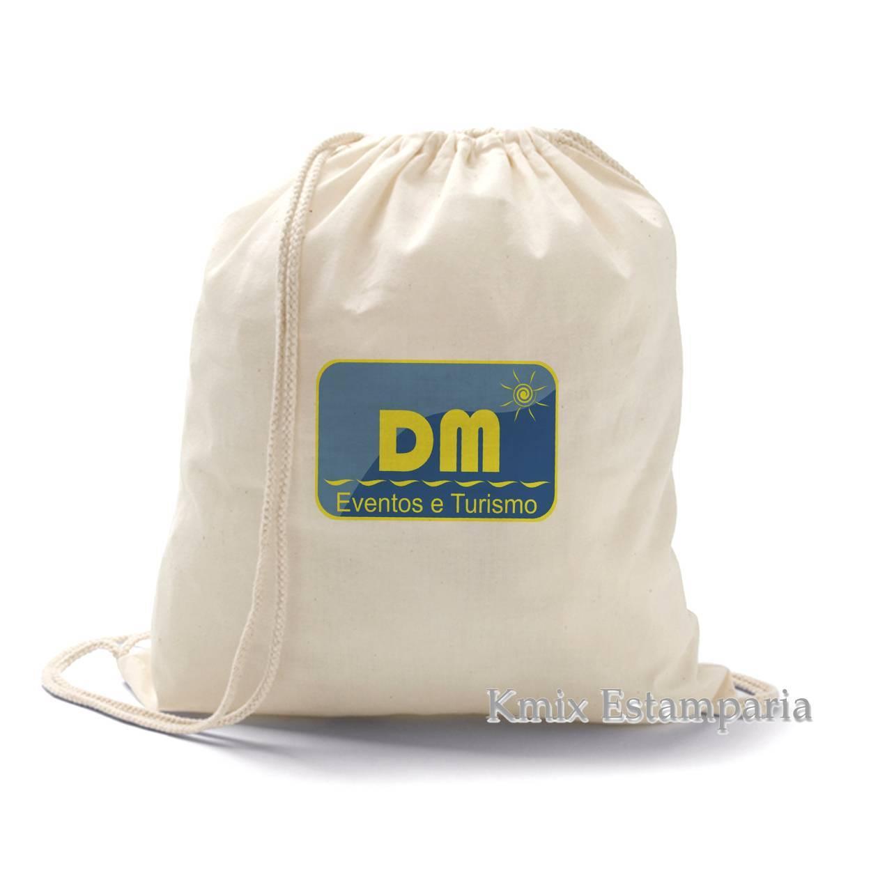 Sacola tipo mochila 100% algodão. 37 x 41 cm (92456)