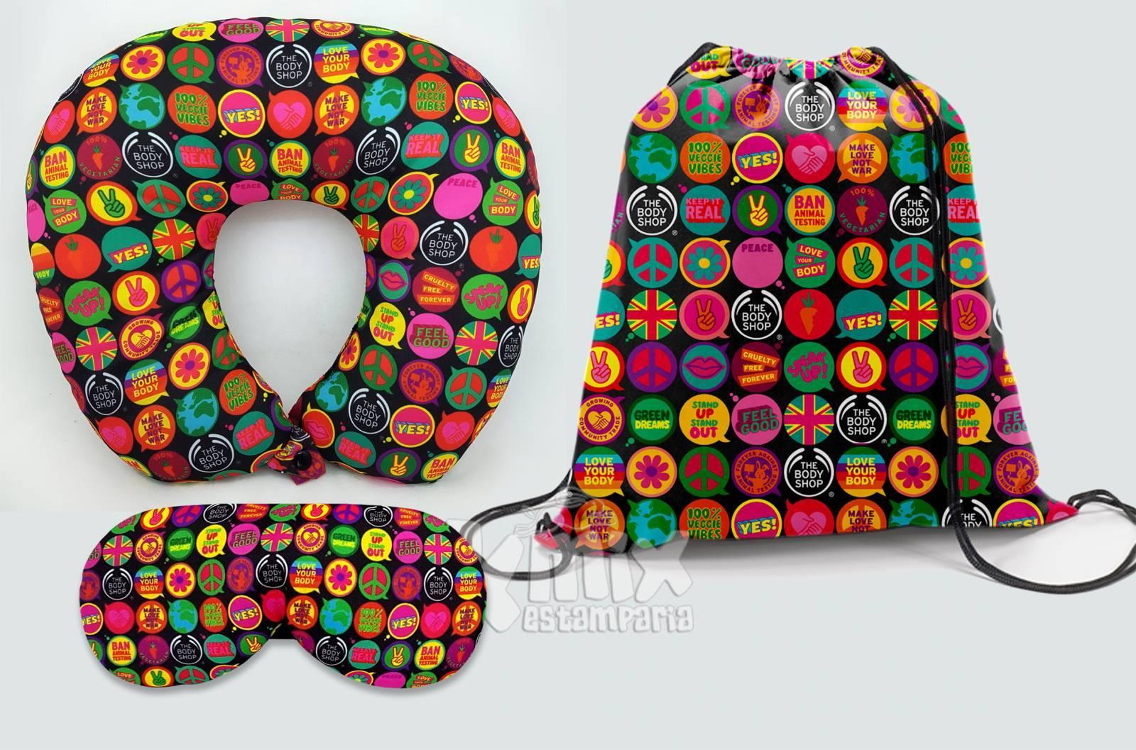 Kit Almofada de pescoço, máscara de dormir e sacola 37x41 cm