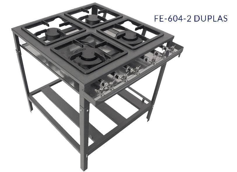 Fogão 04 bocas FE-604-2D - 2 duplas - Metal Brey