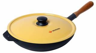 Frigideira Ferro fundido redonda com tampa Amarela FFRV280 V