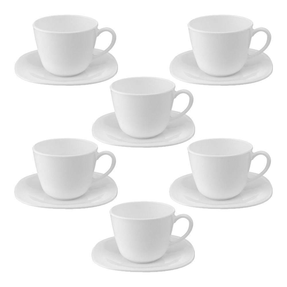 Jogo 06 Xícaras De Chá Vidro Branco Parma Bormioli Rocco