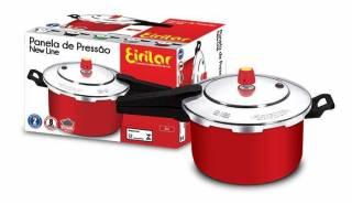 Panela de Pressão Eirilar New Line Red 7,5L, com Teflon Interno. | Refrimur