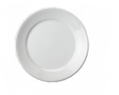 Prato Raso de Louça - Branco - Caixa com 20 Peças.