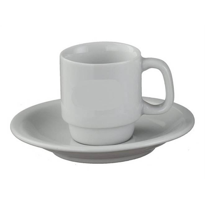 Xícara com Pires de Café Porcelana Branca/ Caixa com 12 Unidades.