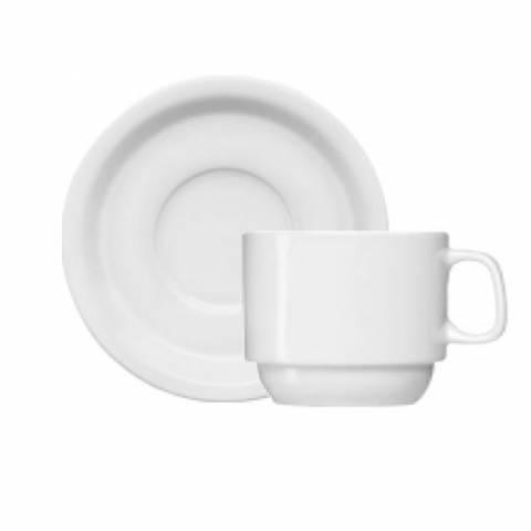 Xícara de Chá com Pires Porcelana Branca. Caixa com 12 Unidades.