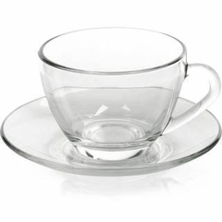 Xícara de Chá com pires, Sta Marina - Vidro - Caixa com 12 Unidades | Refrimur