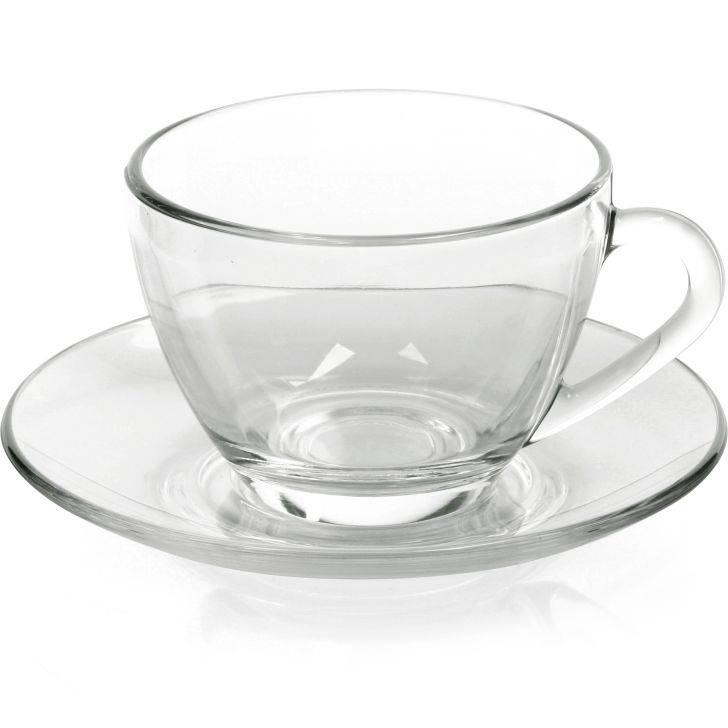 Xícara de Chá com pires, Sta Marina - Vidro - Caixa com 12 Unidades